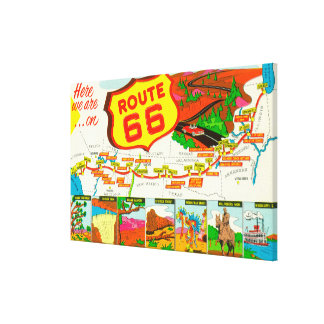 Map of Route 66 from Los Angeles to Chicago Canvas Print