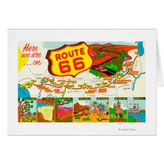 Map of Route 66 from Los Angeles to Chicago Greeting Card