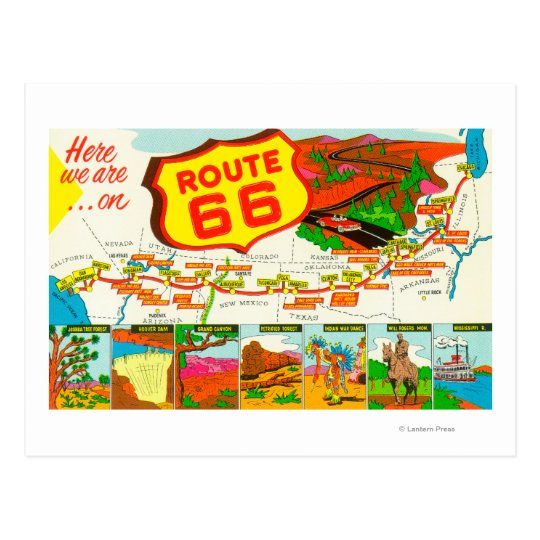 Map of Route 66 from Los Angeles to