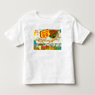 Map of Route 66 from Los Angeles to Chicago Toddler T-Shirt