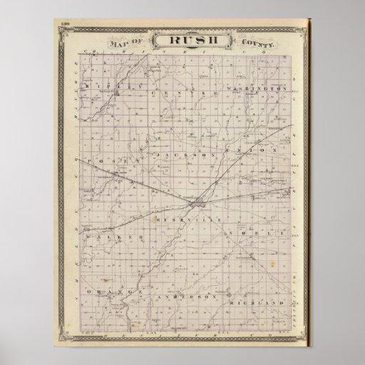 Map of Rush County Print