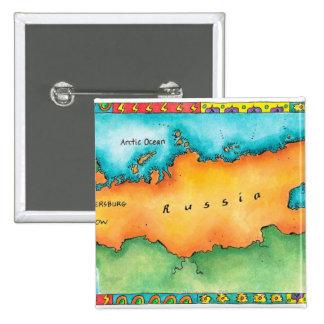Map of Russia 15 Cm Square Badge