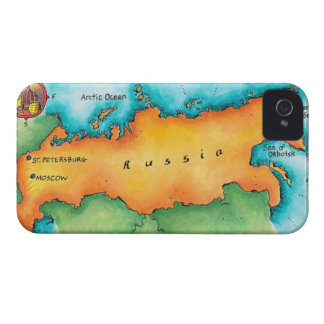 Map of Russia iPhone 4 Cases