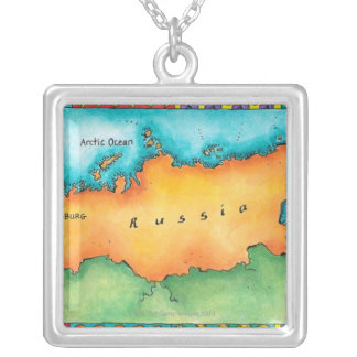 Map of Russia Silver Plated Necklace
