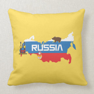 Map of Russia with White Blue and Red Flag within Cushion
