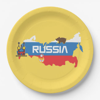 Map of Russia with White Blue and Red Flag within Paper Plate