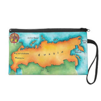 Map of Russia Wristlet Purses