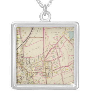 Map of Rye, New York Silver Plated Necklace