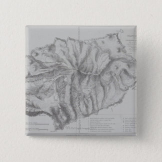 Map of Saint Helena Island 15 Cm Square Badge