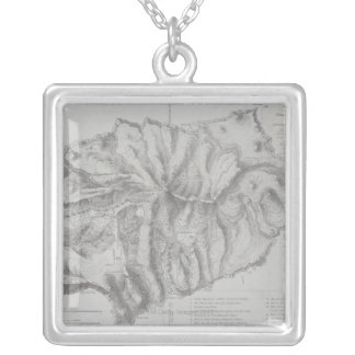 Map of Saint Helena Island Silver Plated Necklace