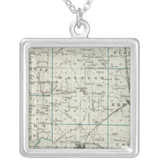 Map of Saline County Silver Plated Necklace