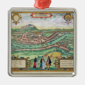 Map of Salzburg, from 'Civitates Orbis Terrarum' b Christmas Ornament