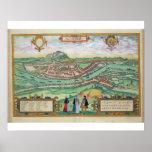 Map of Salzburg, from 'Civitates Orbis Terrarum' b Poster