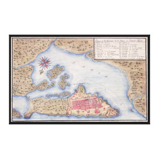 Map of San Juan Puerto Rico from 1770 Canvas Prints