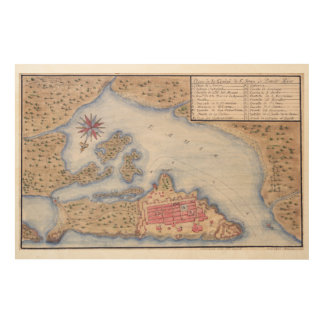 Map of San Juan Puerto Rico from 1770 Wood Canvases