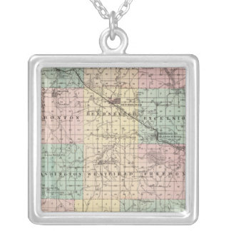 Map of Sauk County and Kilbourn City Silver Plated Necklace