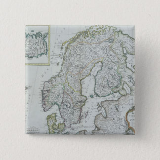 Map of Scandinavia 15 Cm Square Badge