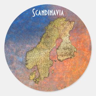 Map of Scandinavia Cartography Round Sticker