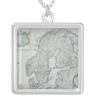 Map of Scandinavia Silver Plated Necklace