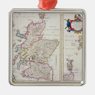 Map of Scotland, c.1700 Silver-Colored Square Decoration