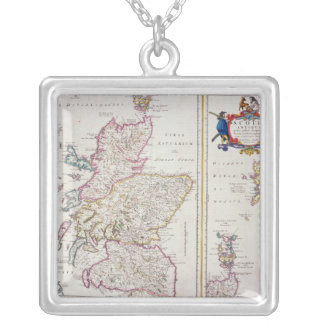 Map of Scotland, c.1700 Silver Plated Necklace