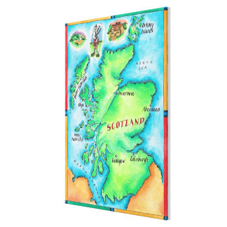Map of Scotland Canvas Print