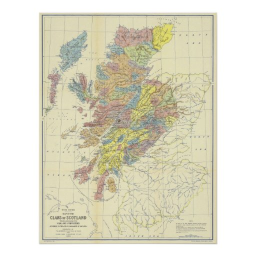 Map of Scotland in 1899 Showing Scottish Clans