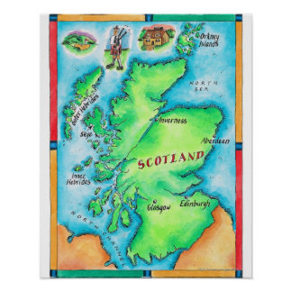 Map of Scotland Poster