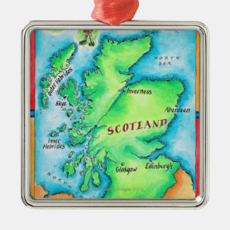Map of Scotland Silver-Colored Square Decoration