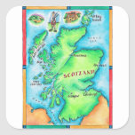 Map of Scotland Square Sticker