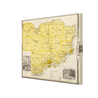 Map of Scott County, State of Iowa Canvas Print