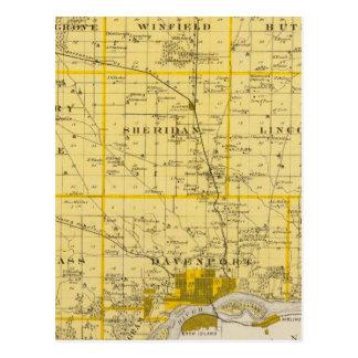 Map of Scott County, State of Iowa Postcard