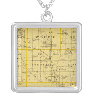 Map of Scott County, State of Iowa Silver Plated Necklace