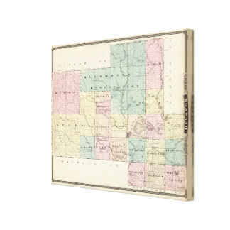 Map of Shawano County, State of Wisconsin Canvas Print