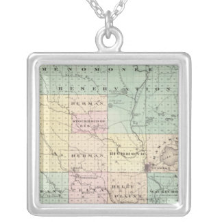Map of Shawano County, State of Wisconsin Silver Plated Necklace