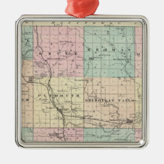 Map of Sheboygan County, State of Wisconsin Christmas Ornament