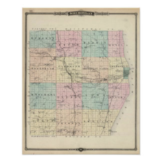 Map of Sheboygan County, State of Wisconsin Poster