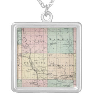 Map of Sheboygan County, State of Wisconsin Silver Plated Necklace