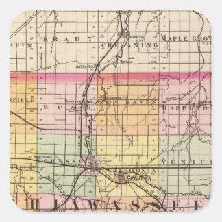Map of Shiawassee County, Michigan Square Sticker
