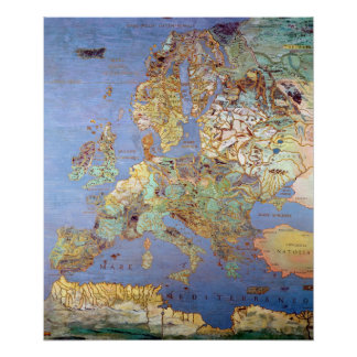 Map of Sixteenth Century Europe Poster