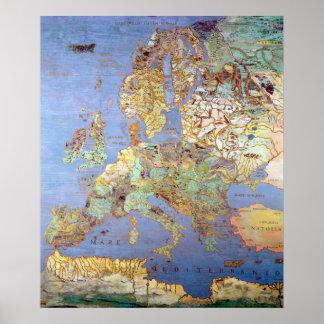Map of Sixteenth Century Europe Poster