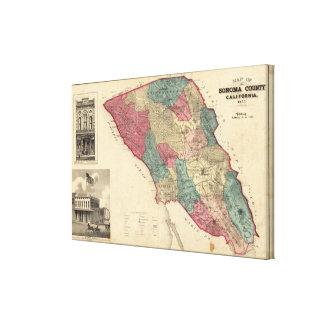 Map of Sonoma County California Canvas Print