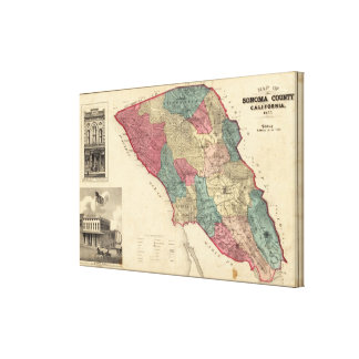 Map of Sonoma County California Canvas Prints