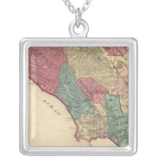 Map of Sonoma County California Silver Plated Necklace