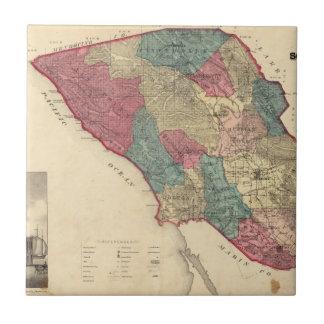 Map of Sonoma County California Tile