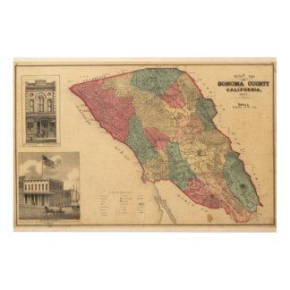 Map of Sonoma County California Wood Wall Art
