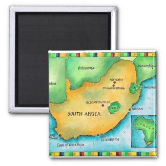Map of South Africa Square Magnet