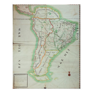Map of South America, 1777 Poster