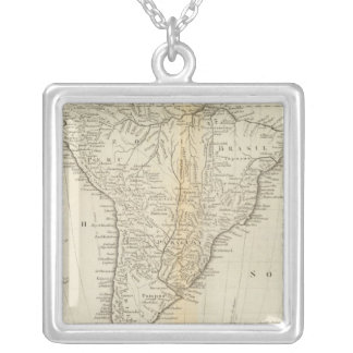 Map of South America 2 Silver Plated Necklace