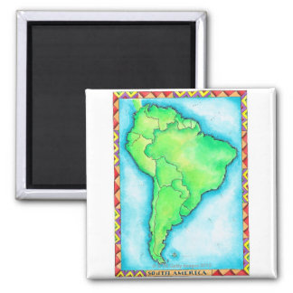 Map of South America 2 Square Magnet